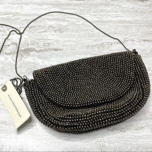Anthropologie Beaded Crossbody Bag Small Silver